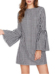 Round Neck Casual Plaid Shift Dress