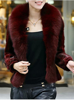 Lapel Plain Faux Fur Coat
