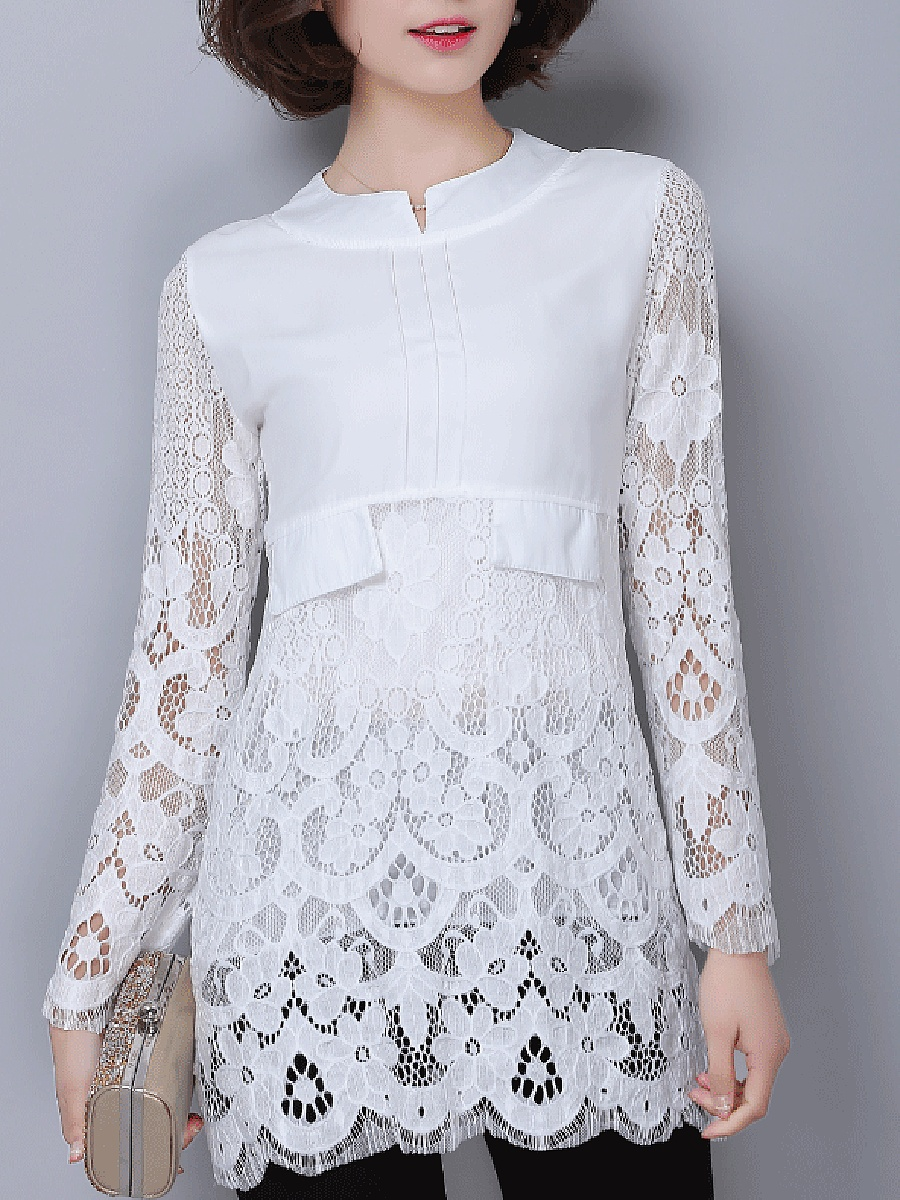 Split Neck Lace Hollow Out Plain Longline Blouse
