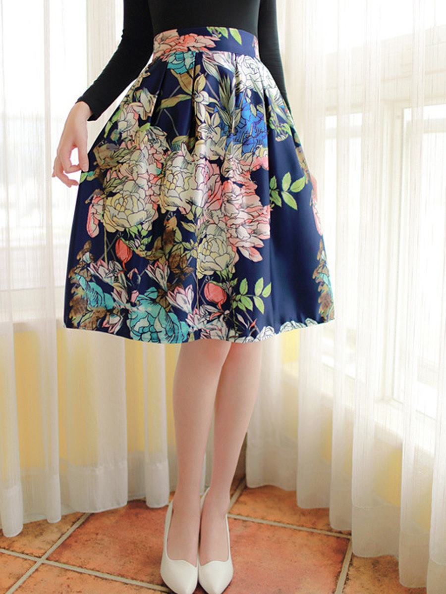 Elastic Waist Flared Midi Skirt In Floral Printed