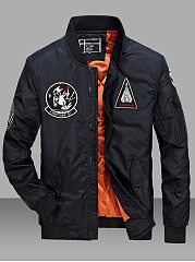 Band-Collar-Embroidery-Badge-Flap-Pocket-Men-Bomber-Jacket