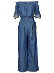 Denim-Off-Shoulder-Belt-Plain-Wide-Leg-Jumpsuit