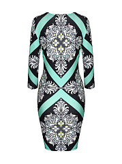 Fantastic Style Round Neck Printed Bodycon Dress
