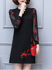 Split Neck Hollow Out Embroidery Shift Dress