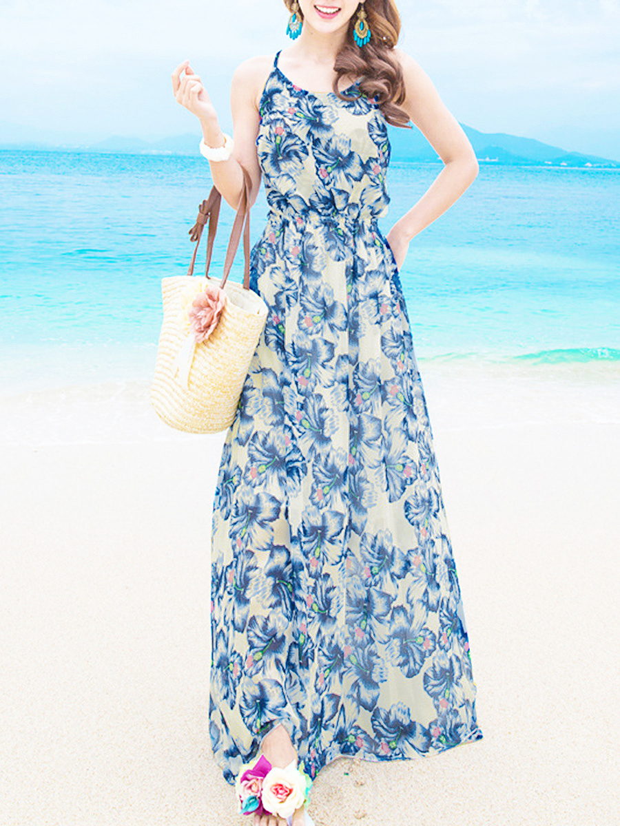 Spaghetti Strap  Lace-Up  Floral Printed  Chiffon Maxi Dress