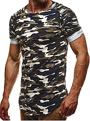 Ruched  Camouflage  Raglan Sleeve  Short Sleeve Short Sleeves T-Shirts