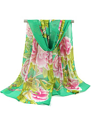 Peony And Butterfly Printed Chiffon Scarf