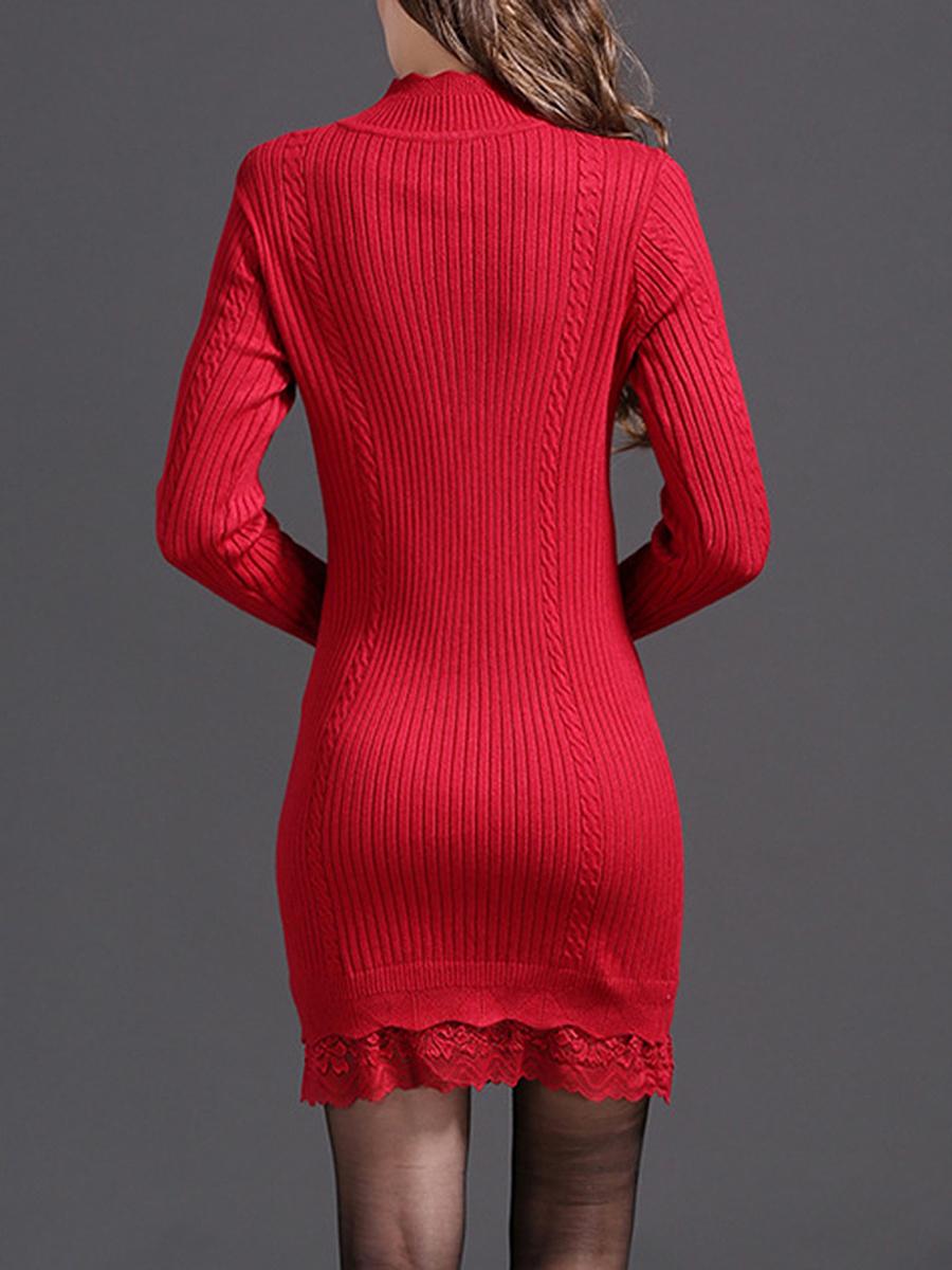 Band Collar Decorative Lace Plain Knitted Mini Bodycon Dress