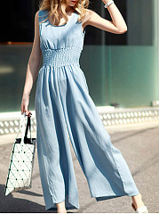 Round-Neck-Elastic-Waist-Pocket-Plain-Wide-Leg-Jumpsuit