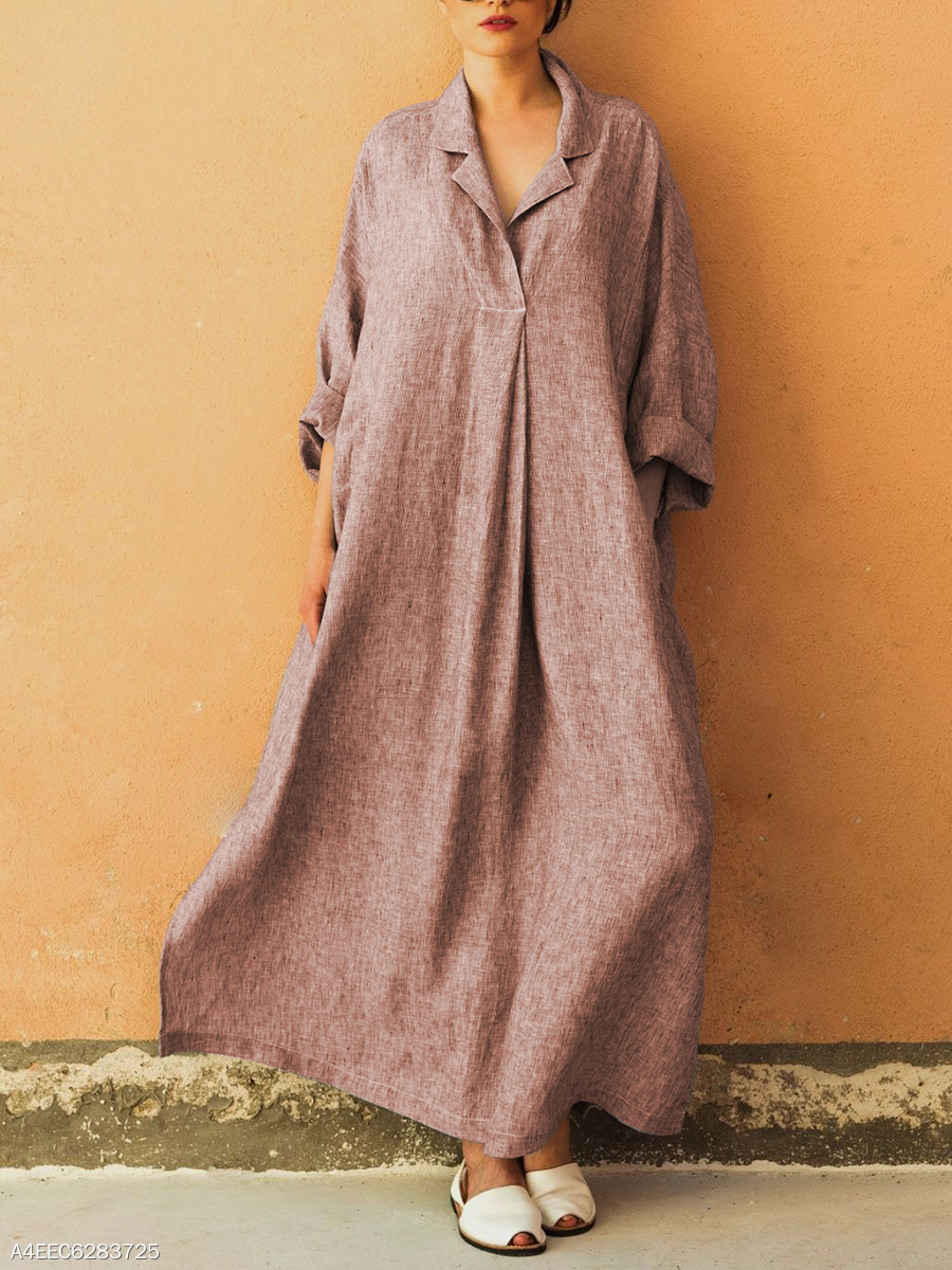 Fold-Over Collar Oversized Plain Maxi Dress