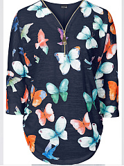 Autumn Spring  Polyester  Women  V-Neck  Zips  Floral Printed  Long Sleeve Blouses