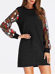 Round Neck  See-Through  Brocade Shift Dress