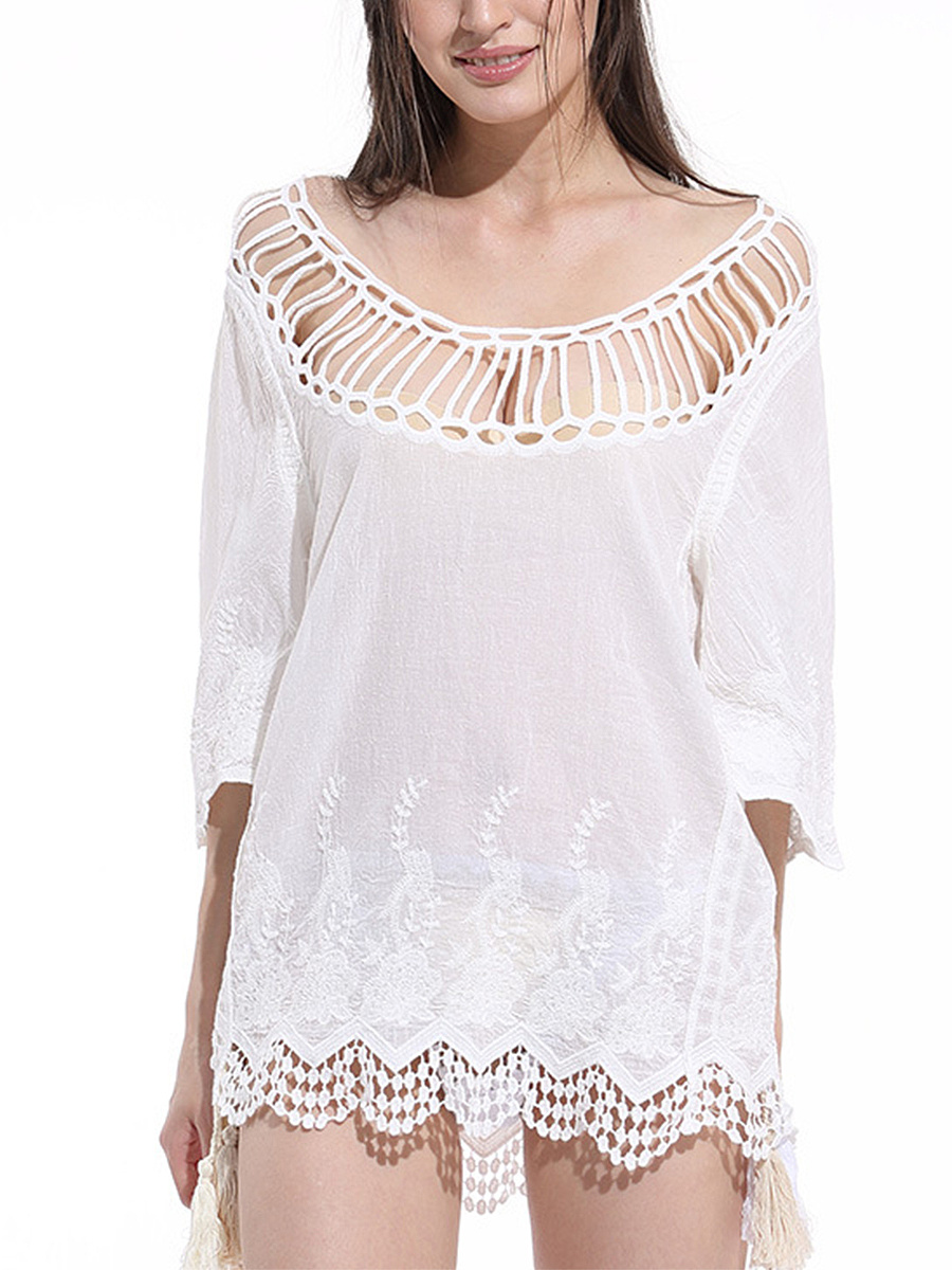 See-Through Solid Tunic In White