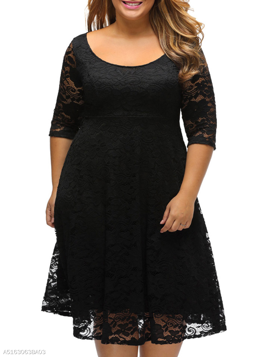 Classical Scoop Neck Hollow Out Plain Lace Plus Size Flared Dress