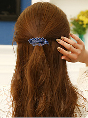 New Stylish Blue Leaves Rhinestone Hair Clip