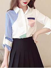 Turn Down Collar  Patchwork  Colouring  Roll-Up Sleeve  Long Sleeve Blouse