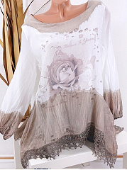 Round Neck  Floral Blouses