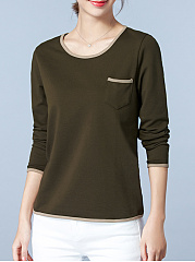 Autumn Spring Winter  Cotton  Women  Round Neck  Contrast Piping  Plain Long Sleeve T-Shirts