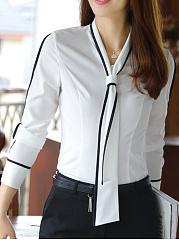 V-Neck Necktie Contrast Trim Blouse