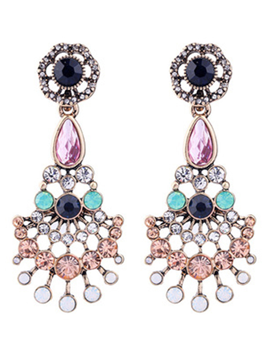 Exquisite Rhinestone Faux Crystal Drop Earrings