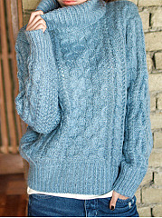 High Neck  Plain Pullover
