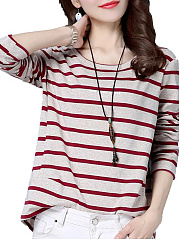 Autumn Spring  Women  Striped Long Sleeve T-Shirts