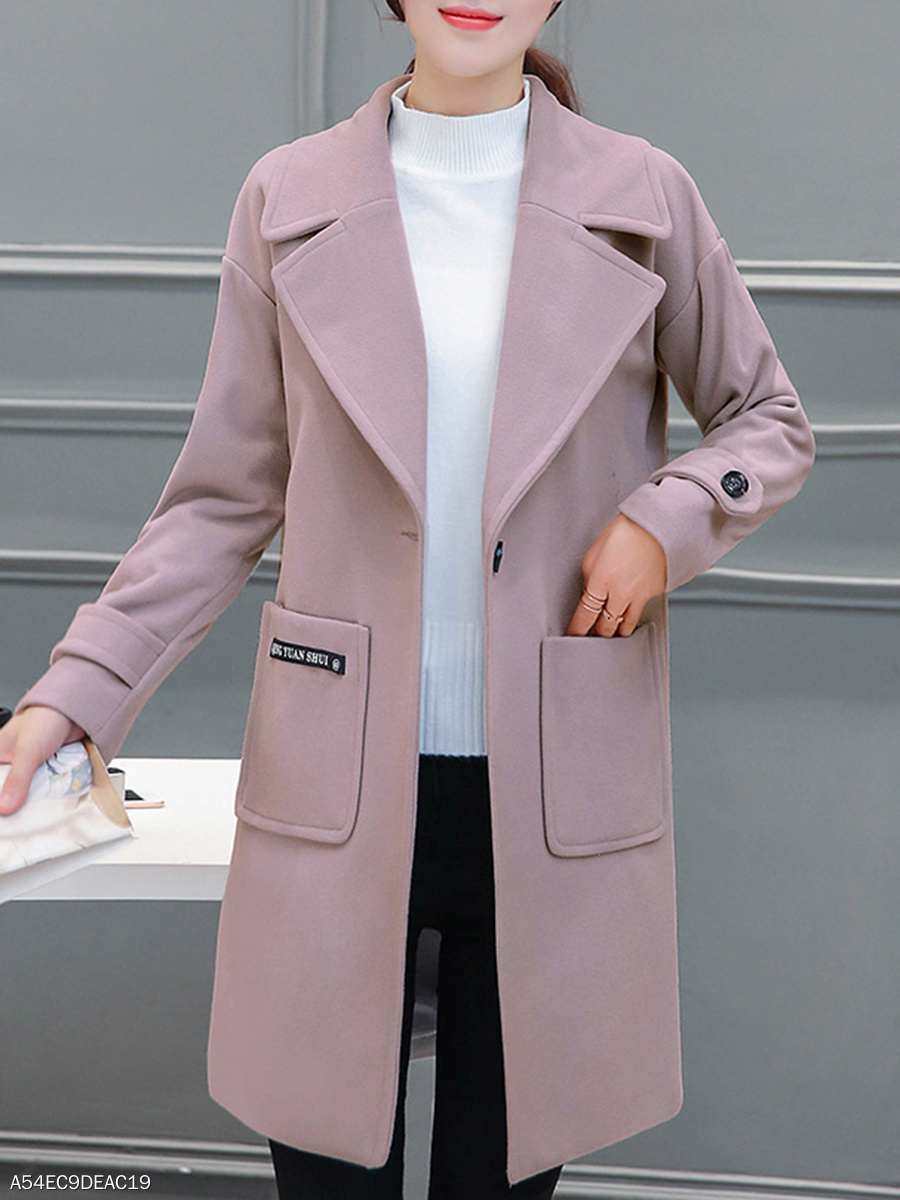 Fold-Over Collar Slim Woolen Coats