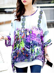 Round Neck See-Through Printed Batwing Sleeve Tunic