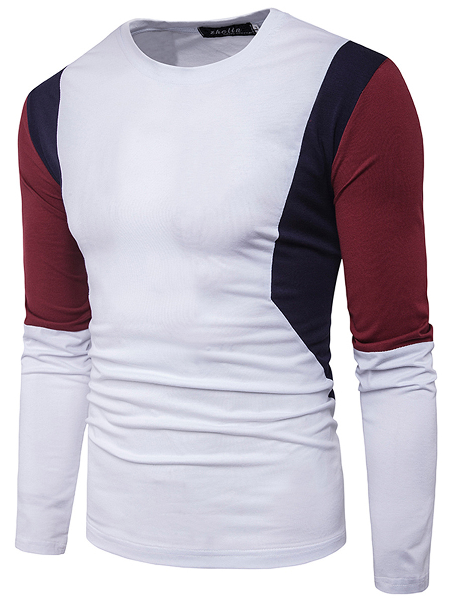 Men Long Sleeve Color Block Round Neck T-Shirt