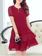 Round Neck Plain Chiffon Layered Skater Dress