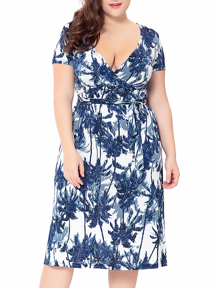 Deep V-Neck Allover Trees Printed Empire Plus Size Flared Dress