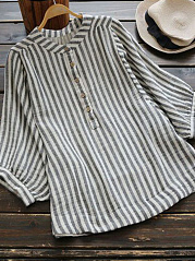 Spring Summer  Polyester  Women  Round Neck  Decorative Button  Striped  Three-Quarter Sleeve Blouses