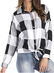 Turn Down Collar  Belt Loops  Checkered Blouses