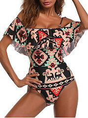 Backless  Abstract Print One Piece For Women