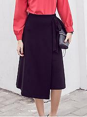 Vintage-Asymmetric-Hem-Bowknot-Plain-Flared-Midi-Skirt