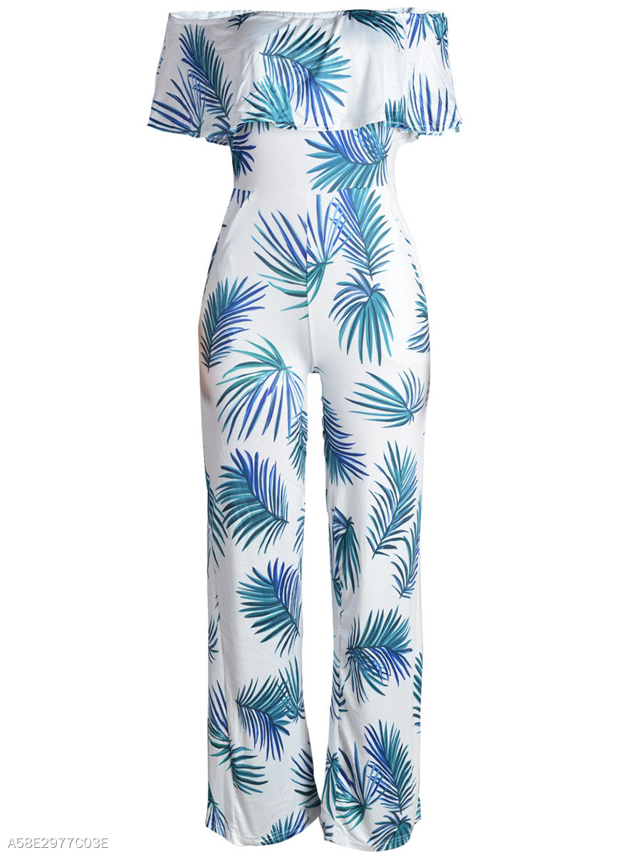 Off Shoulder Flounce Leaf Printed Wide-Leg Jumpsuit