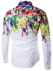 Turn Down Collar  Graffiti  Cuffed Sleeve  Long Sleeve Long Sleeves