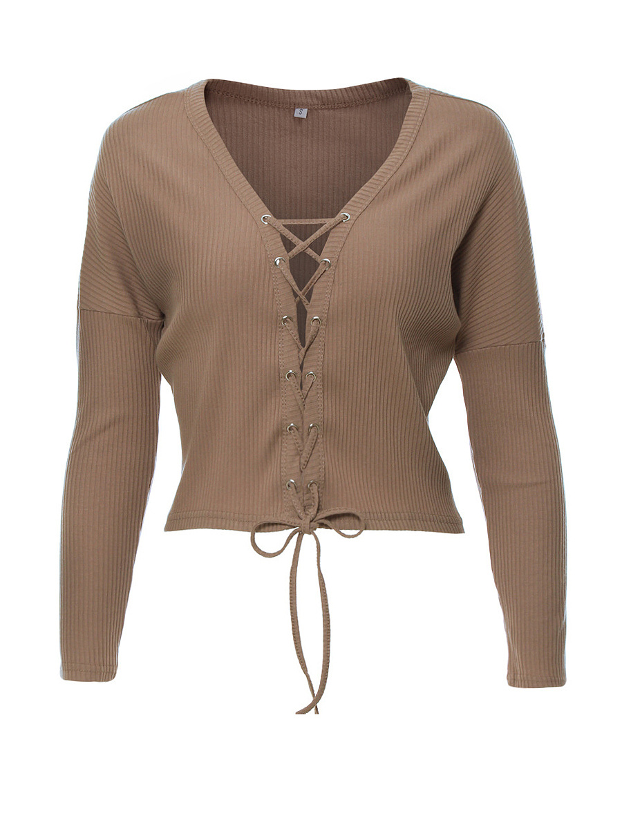 Deep V-Neck Lace-Up Exposed Navel Plain Long Sleeve T-Shirt