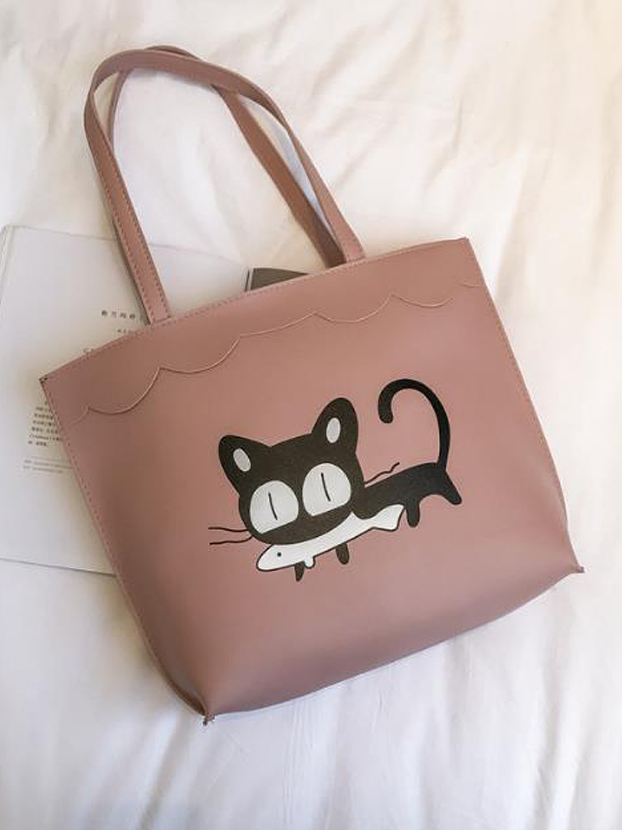 Korea Stylish Cat Eat Fish Print  Hand Bag