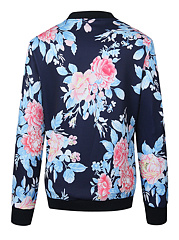 Band Collar Floral Printed Bomber Jacket