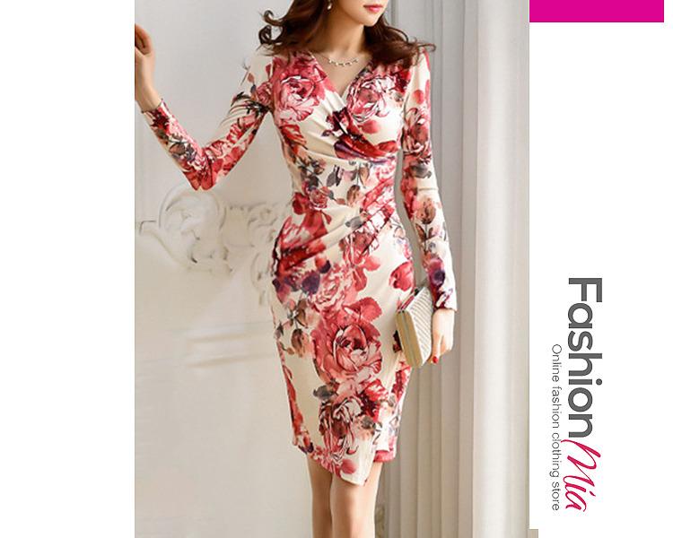 Sexy V-Neck Floral Printed Bodycon Dress A5C5106D9DC9