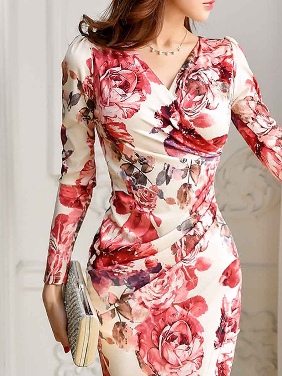 Sexy V-Neck Floral Printed Bodycon Dress