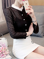 Autumn Spring  Acrylic  Women  High Neck  Single Breasted  Hollow Out Plain  Long Sleeve Blouses