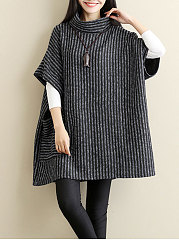 Cowl Neck  Patch Pocket  Striped  Batwing Sleeve  Half Sleeve Pullover