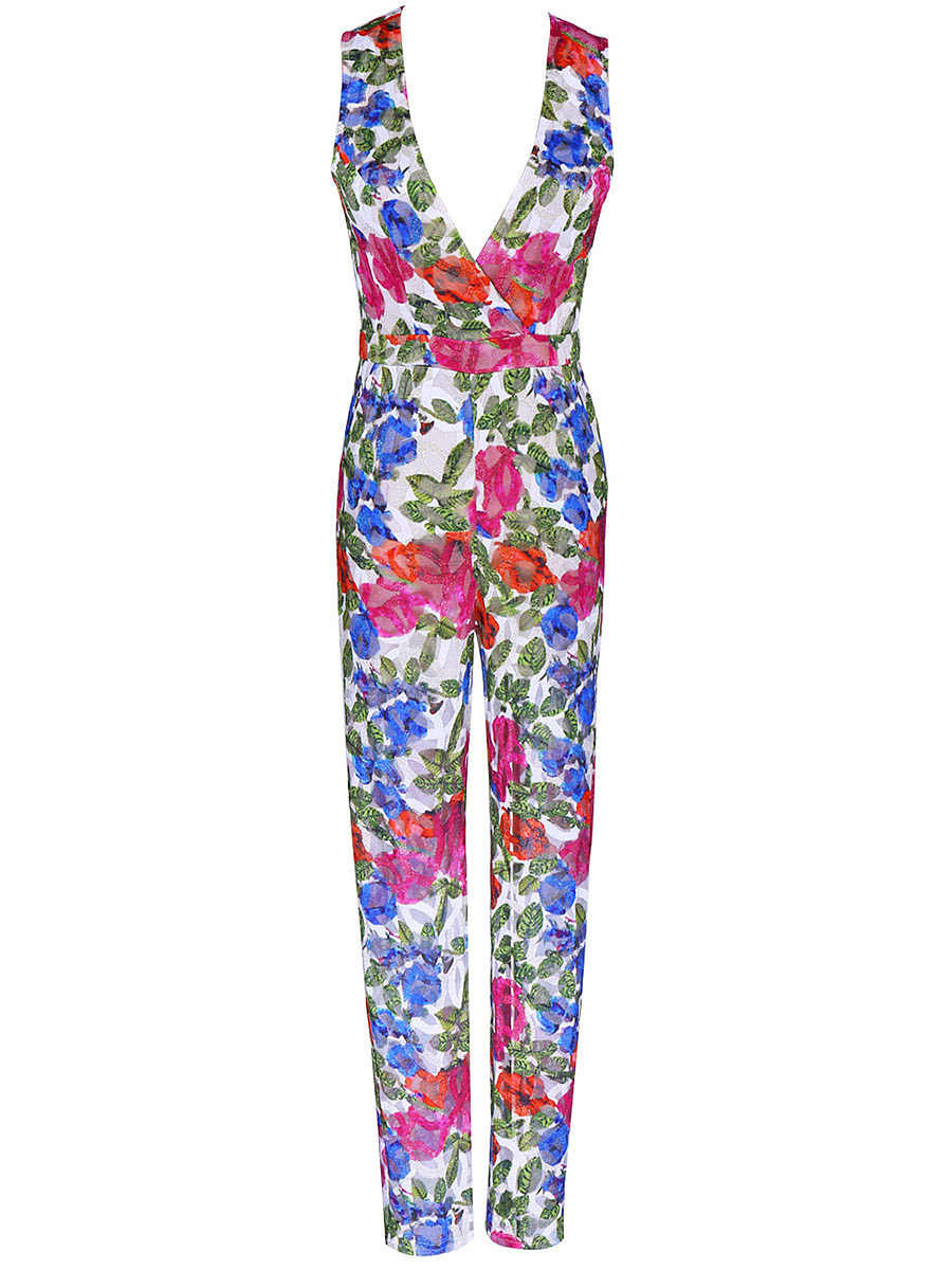 Deep V-Neck Printed Slim-Leg Jumpsuit