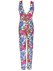 Deep-V-Neck-Printed-Slim-Leg-Jumpsuit