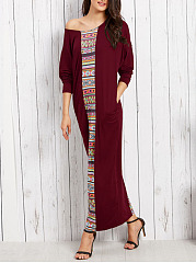 One Shoulder Pocket Tribal Printed Maxi Dress