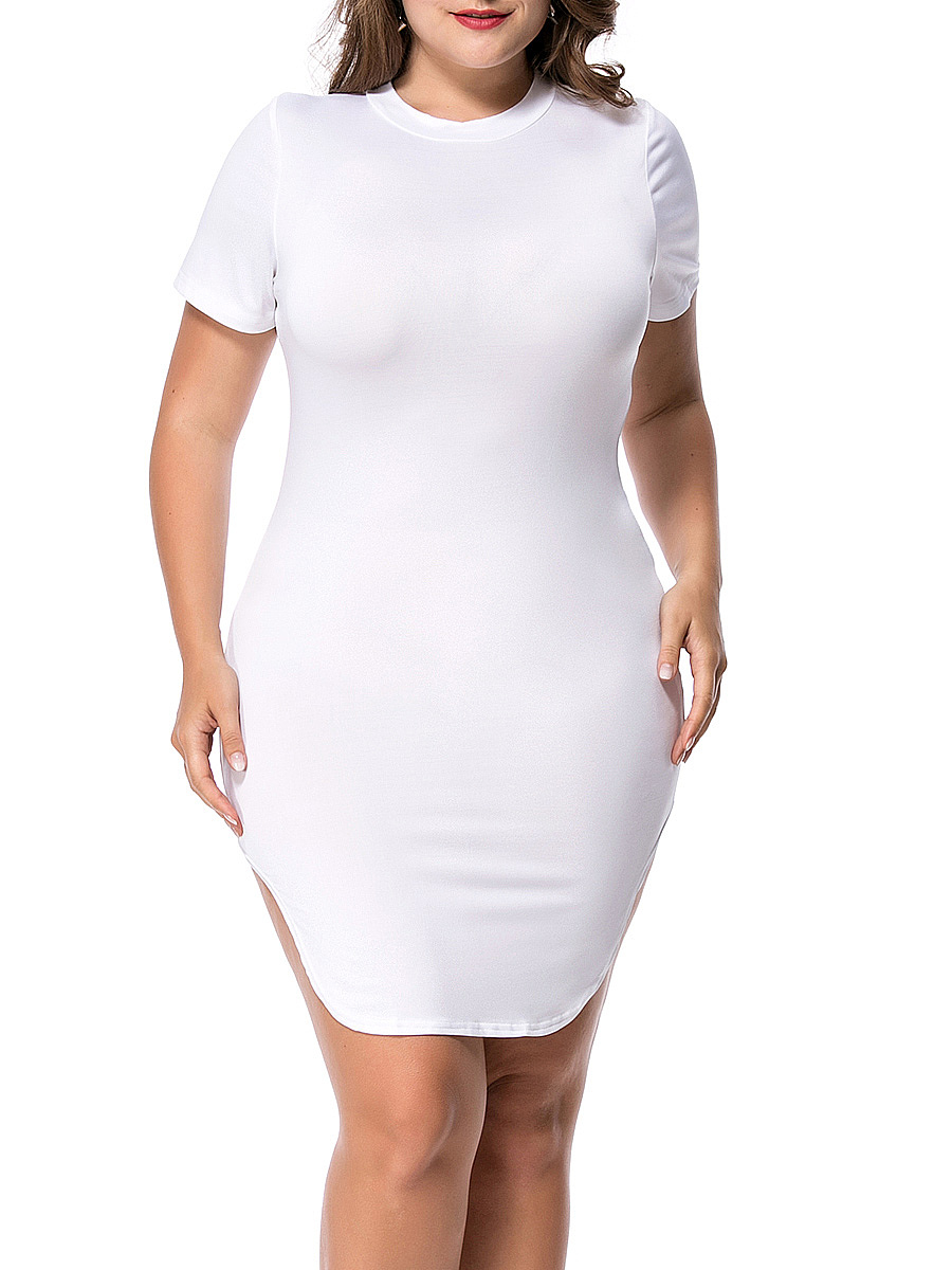 Crew Neck Curved Hem Solid Plus Size Bodycon Dress