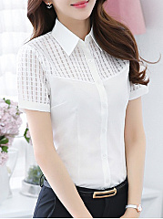 Summer  Cotton  Women  Turn Down Collar  Single Breasted  Plain  Short Sleeve Blouses