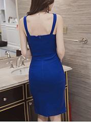 ... V-Neck Slit Solid Bodycon Dress ...
